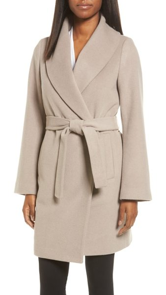 Tahari gabrielle wool blend long wrap coat in brown sugar - A warm wool-blend coat with softly brushed texture and...