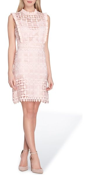 Tahari high neck lace sheath dress in blush - Sweet and shapely, this lacy sheath makes an...