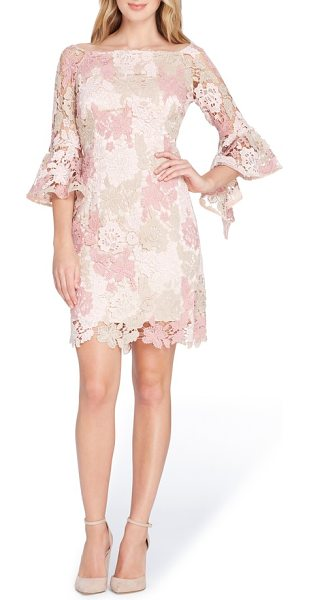 Tahari lace bell sleeve sheath dress in blush/ rose/ taupe - Delicate allover lace romances this dainty sheath styled...