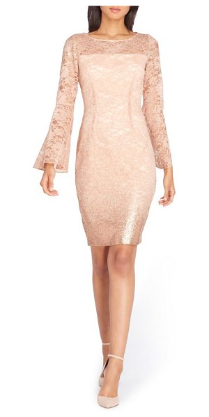 Tahari lace bell sleeve sheath dress in tea rose - With a sparkling lace overlay and swingy bell sleeves,...