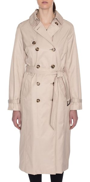 Tahari lauren long hooded trench coat in sand - Equipped with a removable hood and cut for a full-length...