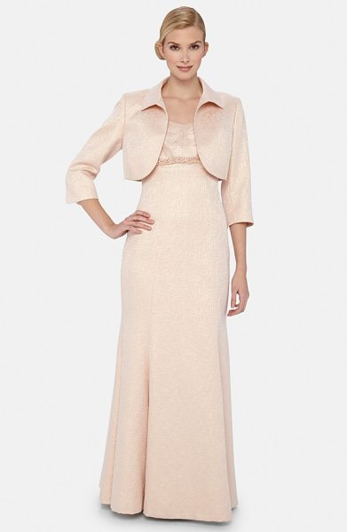 Tahari metallic jacquard mermaid gown with jacket in blush - Gorgeous jacquard with a lovely metallic sheen is...