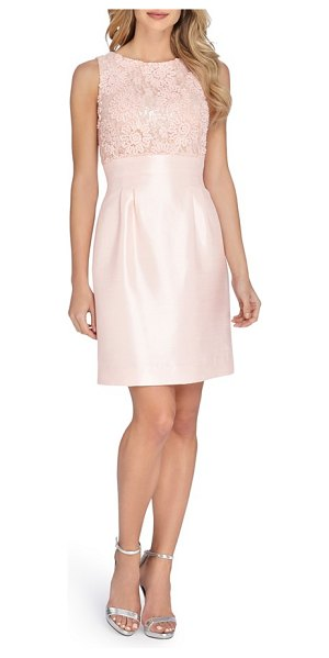 Tahari mixed media fit & flare dress in blush - A fitted bodice sumptuously textured in embroidery, lace...