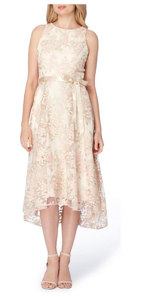 Tahari floral embroidered tea length dress in champagne/ petal