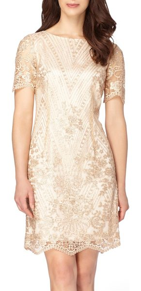 Tahari sequin lace shift dress in shell pink - A golden gleam in great detail romances this comfortable...