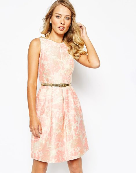 Tahari Prom dress in floral jacquard with belt in petal pink