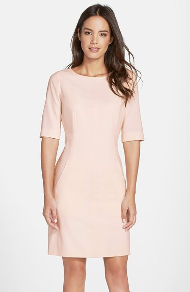 Tahari seamed a-line dress in blush - Strategic vertical seaming sculpts a relaxed A-line...