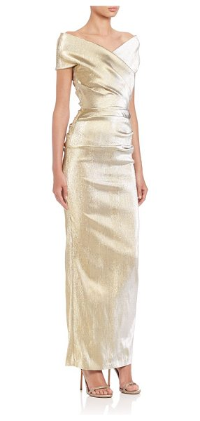 Talbot Runhof Draped off-shoulder gown in gold - Shimmering metallic fabric elevates this glamorous...
