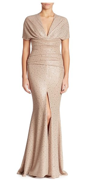 TALBOT RUNHOF glitter sequin gown in champagne - Sequin embellished gown with delicate ruching.V-neck....