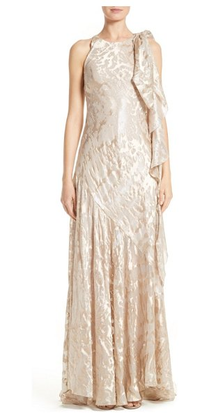 Talbot Runhof metallic burnout jacquard tie shoulder gown in sahara - A lavish tie at one shoulder cascades down the side of a...