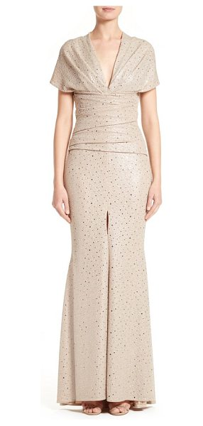 Talbot Runhof metallic mermaid gown in sahara - Silvery metallic threads and polka dots sparkle on an...