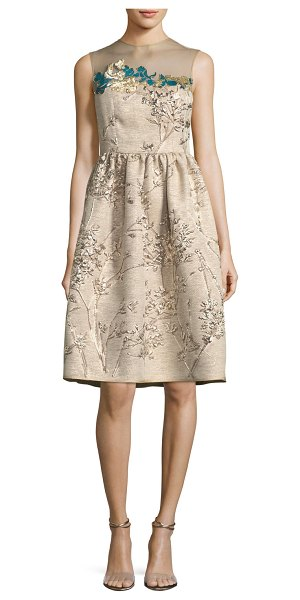 Talbot Runhof Ponnel Sleeveless Twig Silk Jacquard Cocktail Dress with Floral Embroidery in neutral pattern