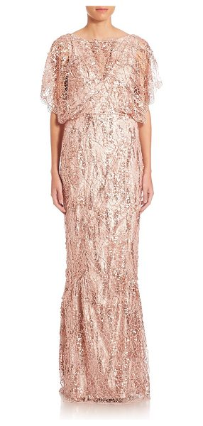 Talbot Runhof sequin lace gown in oyster - EXCLUSIVELY AT SAKS FIFTH AVENUE. Vintage-inspired gown...
