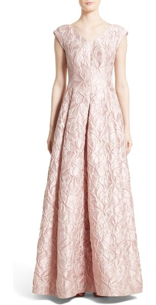 Talbot Runhof talbut runhof poppy cloque cap sleeve gown in pink marble - Expert seaming shapes the fitted bodice and lushly...