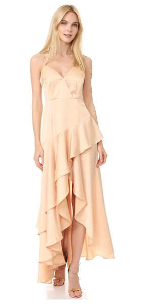 Talulah secret intact ruffle dress in nude - A sleek sateen Talulah gown with glamorous ruffles and a...