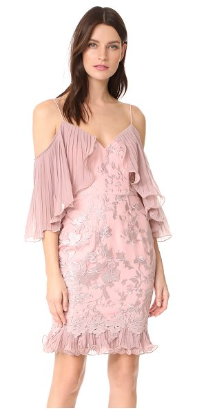 La Maison Talulah valencia rose off shoulder mini dress in woodrose - Pleated overlays hang from the neckline of this Talulah...