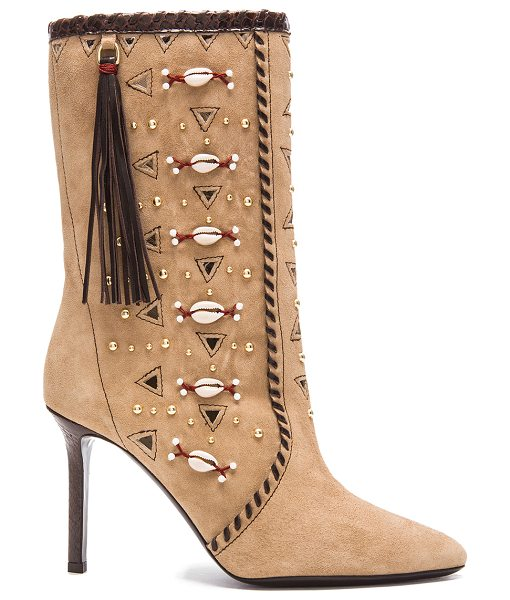 Tamara Mellon Bohemia suede & elaphe boots in neutrals,animal print - Suede upper with leather sole.  Made in Italy.  Shaft...