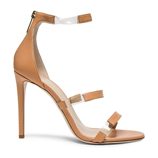 Tamara Mellon Leather Frontline Heels in neutrals - Leather upper and sole.  Made in Italy.  Approx 100mm/ 4...