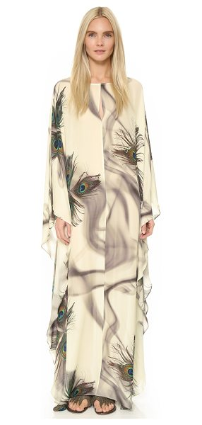 TAMARA MELLON Long caftan - A photoreal pattern of peacock feathers and hazy smoke...