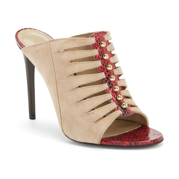 Tamara Mellon mule sandal in nude/ burgundy suede - An exotic mix of snakeskin-embossed leather, sandy...