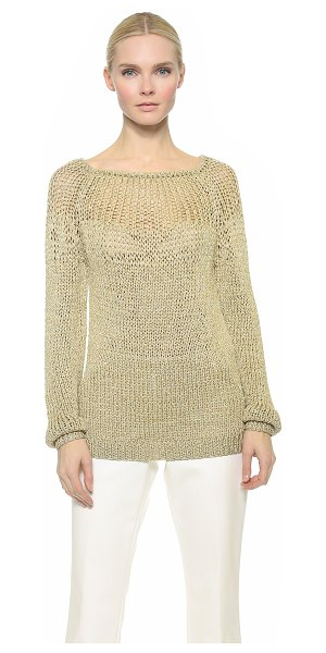 Tamara Mellon Open stitch sweater in gold - Delicate, shimmering metallic yarn composes this gauzy,...