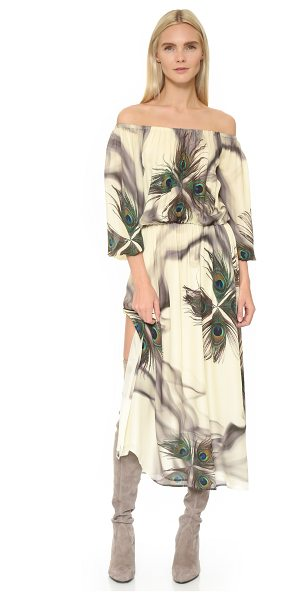 Tamara Mellon Peasant dress in cream peacock - A photoreal pattern of peacock feathers and hazy smoke...