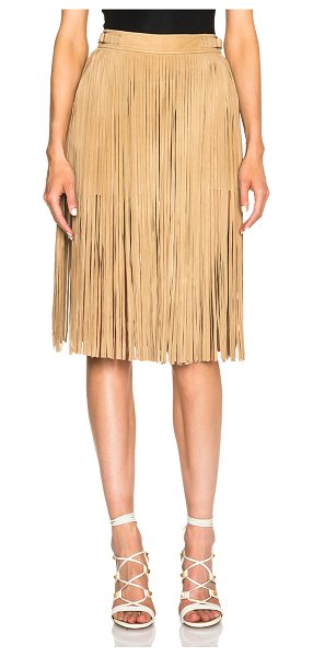 Tamara Mellon Suede fringe shorts in neutrals - Self: 100% suede - Lining: 100% poly.  Made in China. ...