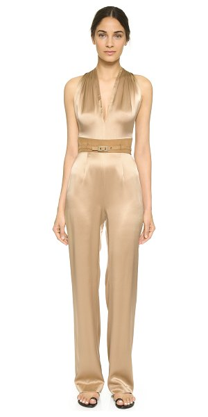Tamara Mellon T-back jumpsuit in sand - Soft nubuck trim lends a hit of luxury to this fluid...