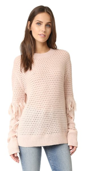 Tanya Taylor cable lace naomi fringe sweater in shell