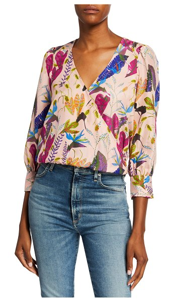 Tanya Taylor Gylda Leaf-Print Surplice 3/4-Sleeve Silk Blouse in brown