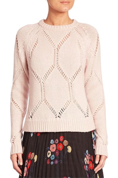 Tanya Taylor ladder knit wool & silk sweater in shell - Plush sweater in an intricate ladder-knit design. Ribbed...