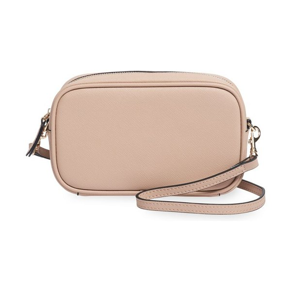 TDE mini leather crossbody bag in taupe - Mini crossbody bag cut from rich Saffiano leather boasts...