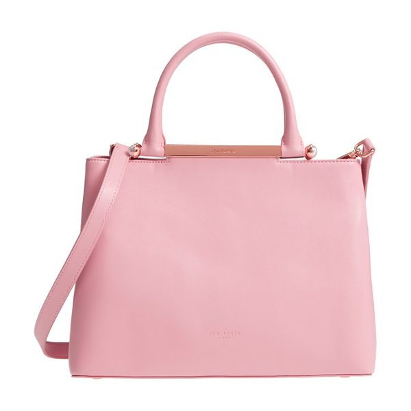 TED BAKER anabel leather satchel in dusky pink - The essential ladylike accessory, this elegant,...