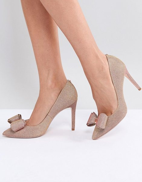 TED BAKER Azeline Rose Gold Sparkling Heeled Pumps - Heels by Ted Baker, Glitter upper, Slip-on style,...
