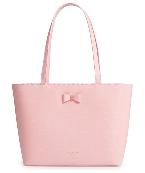 Ted Baker bow detail leather shopper in light pink - A signature bow anchored with logo-embossed hardware...