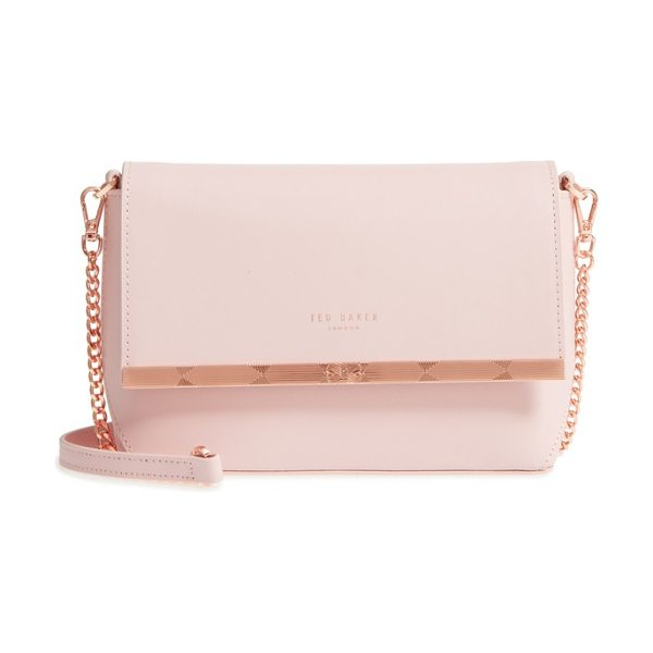 Ted Baker bow embossed leather crossbody bag in light pink - Streamlined and compact, this leather crossbody is a...