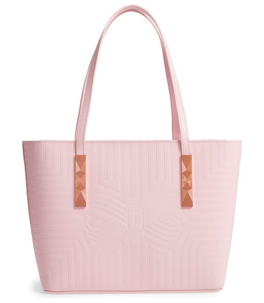 Ted Baker bow embossed leather shopper in light pink - A signature bow shaped by strategic embossing sends...