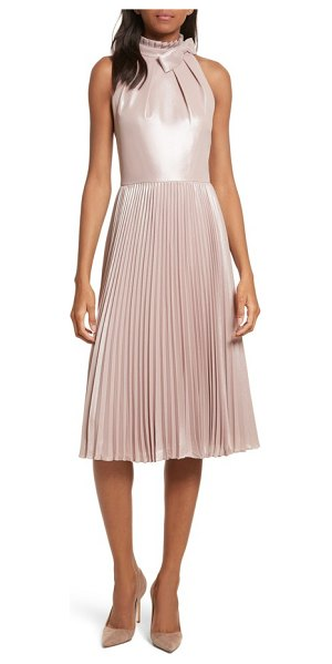 Ted Baker bow neck fit & flare dress in rose gold - Enriched with a satiny shimmer, an iconic ladylike dress...