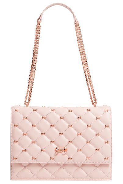 Ted Baker bow quilted leather shoulder bag in light pink - Dainty bow studs punctuate the quilted leather of a...