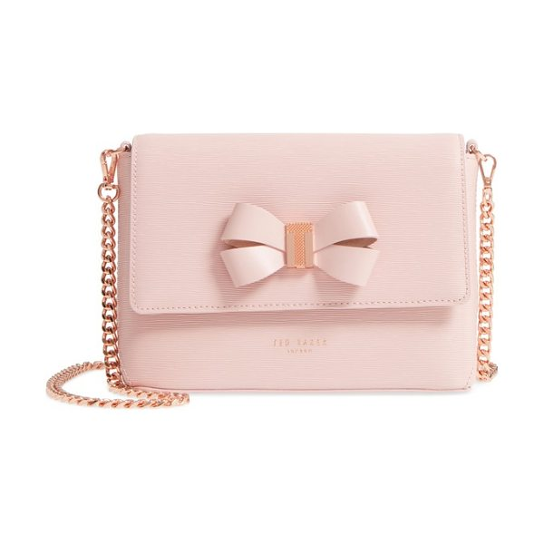 Ted Baker bowii bow mini bark leather crossbody bag in light pink - Textured-T logo hardware centers the prim bow accent on...