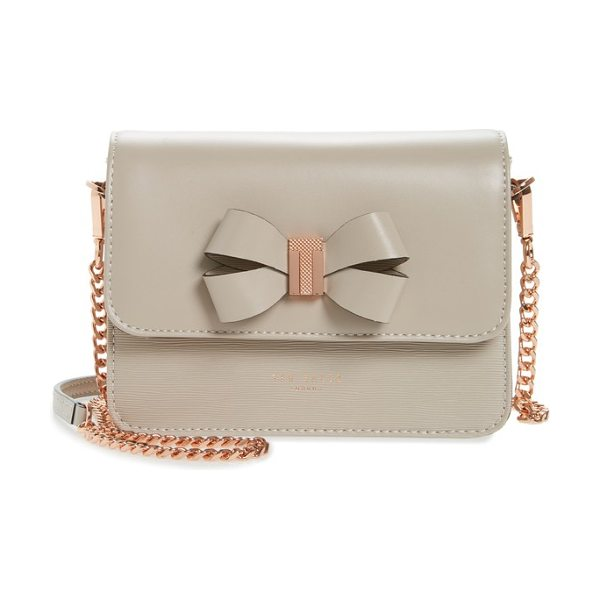 TED BAKER callih bow leather crossbody bag in taupe - A sophisticated mix of textures brings mixed-media...