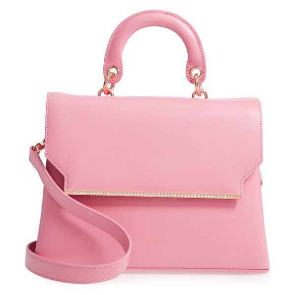 Ted Baker crystal bar leather top handle satchel in dusky pink - Signature rose-gold hardware with pave crystals accents...