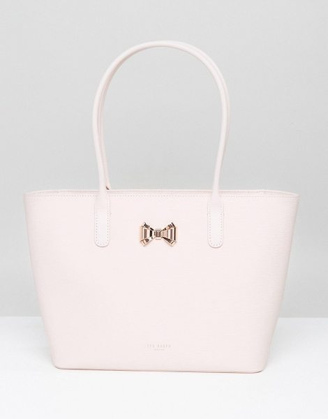 Ted Baker Curved Bow Small Zip Shopper Bag in pink - Cart by Ted Baker, Leather outer, Fully-lined, Twin...