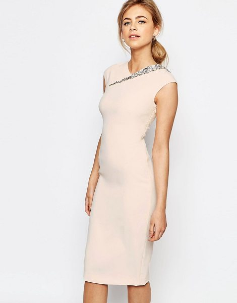 Ted Baker Cut Out Back Detail Dress in pink - Dress by Ted Baker, Smooth woven fabric, V-neckline, Cap...