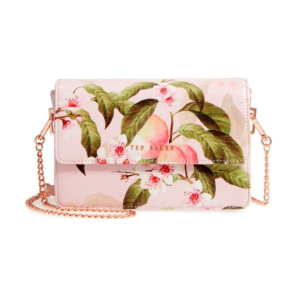 TED BAKER disha peach blossom faux leather crossbody bag in light pink - A vibrant peach-blossom print adds a pretty finish to a...