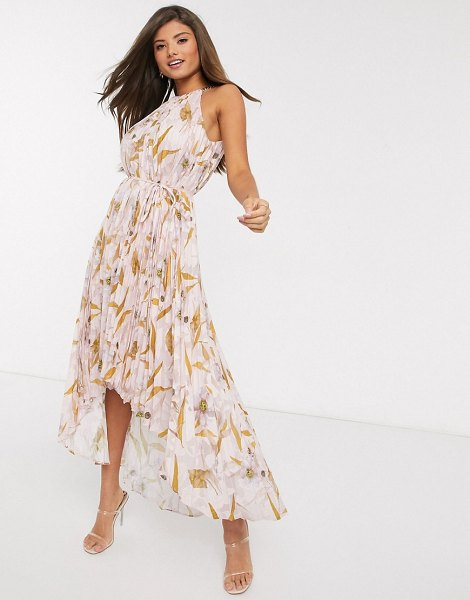 Ted Baker dixxie pleated floral midi dress-pink in pink