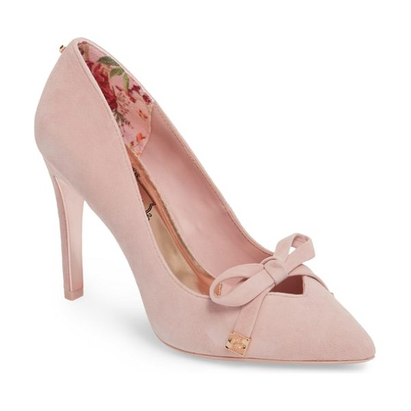 TED BAKER gewell bow pump in mink pink suede - A demure bow tipped in signature goldtone metal adorns...