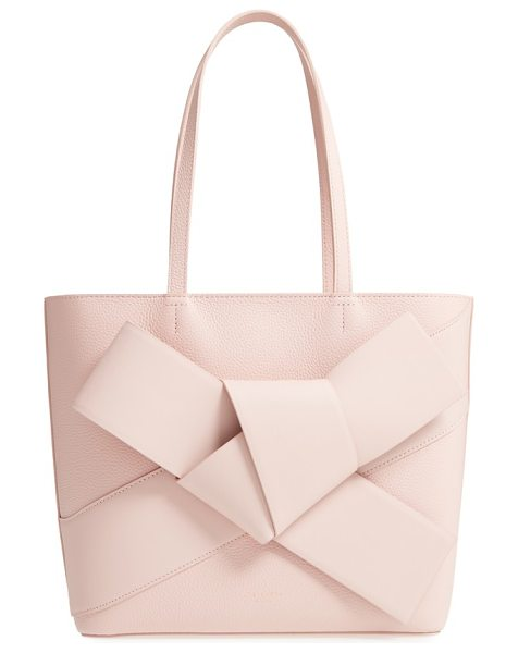 Ted Baker giant knot leather shopper in nude pink - A lavish, enormous bow adorns an oversized leather...