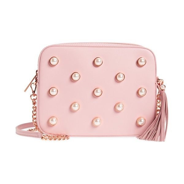Ted Baker alessia imitation pearl embellished leather crossbody in dusky pink