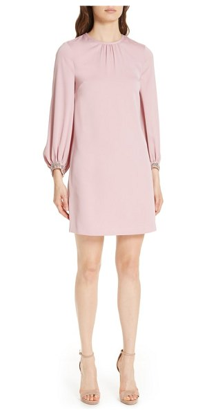 Ted Baker joele embellished cuff shift dress in pink - Baubles bubble along the bracelet sleeves of this simply...